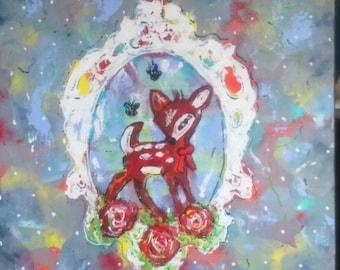 Acrylic on canvas: Bambi. Deer. Very modern retro motif.