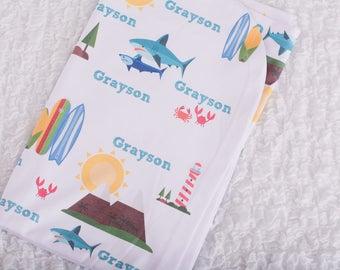 Personalized Beach Baby Nautical Swaddle- Beach Baby Blanket- Nautical Receiving Blanket- Nautical Baby Name Blanket- Beach Baby Shower Gift
