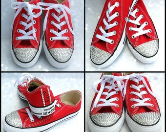 Custom Wedding Converse Bride's Custom BLING Personalized, Bride, Toe and Heel, Classic Low Top , Classic colors, Painted Wedding Shoes