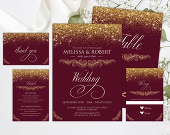 Elegant Burgundy and Gold Wedding Invitation, Wedding Set, Gold Glitter Print, Gold Fairy Dust, Shimmery, Custom, Printed Invitation,WSet13