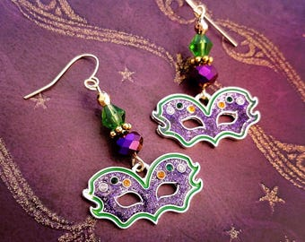 Mardi Gras 2018 Earrings,Masquerade Jewelry,New Orleans, Mardi Gras,gala,ball,Mardi Gras Costume accessories,Party