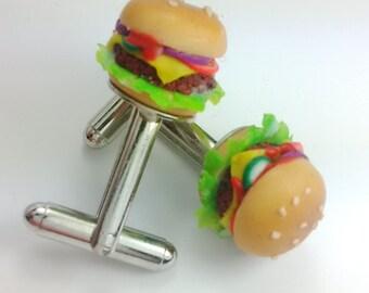 Burger Cufflinks, Miniature Food Jewellery