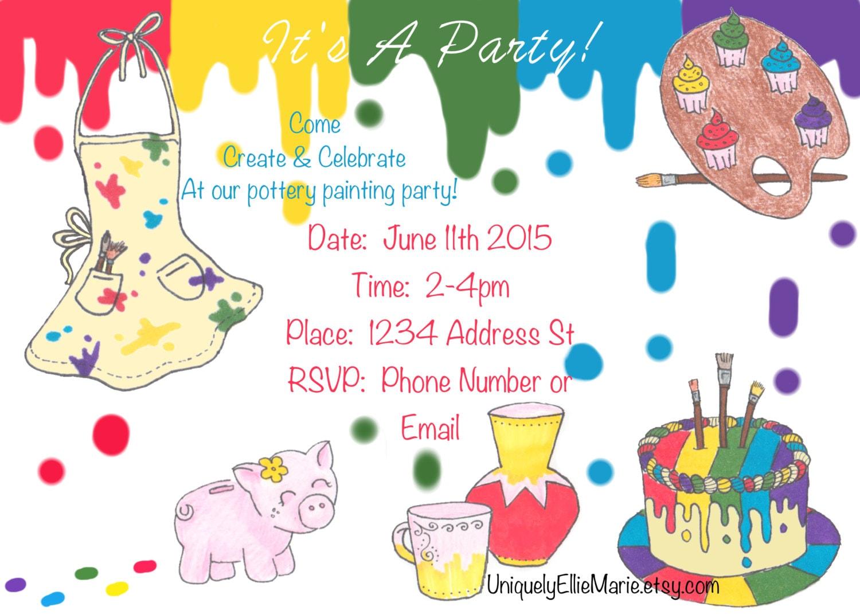 Pottery Painting Invitation Printable Art Birthday Invite