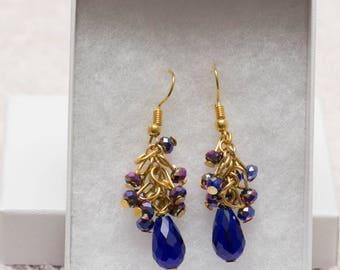 Blue cluster drop earring