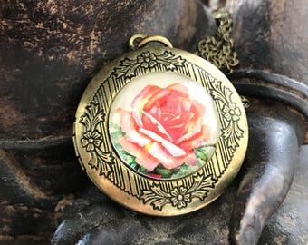 Rose Locket, Rose Necklace, Locket Necklace, Flower Locket, Flower Necklace, Rose Jewelry, Photo Locket, Pink Rose Locket Gift for Mom, Gift