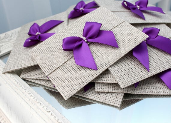 Wedding Invitations With Purple Ribbon: Linen Wedding Invitations With Purple Ribbon Rustic Wedding