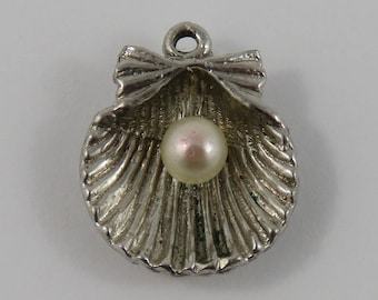 Clam Shell With White Stone Sterling Silver Vintage Charm For Bracelet