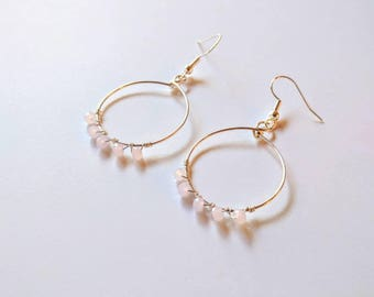 chalcedony hoops, sterling silver, silver hoops, hoop earrings, crystal hoops, chalcedony jewelry, pink chalcedony, pink gemstones, crystals