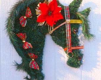 Christmas Horse Head Wreath