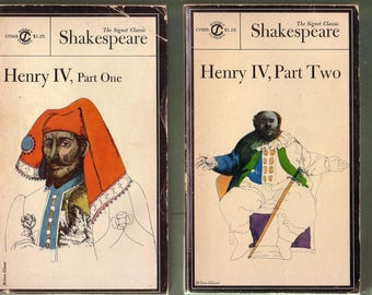 Shakespeare Book Set: Henry IV Part One And Two. Signet Classics 1965 1st Ed. Paperbacks. Good Used Condition*.