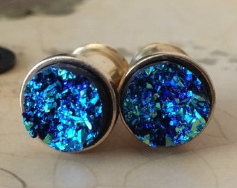 Blue Druzy Plugs, gauges  6g, 4g, 2g, 0g, 00g