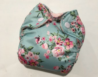 Newborn All in Two Diaper - AI2 - Pink Floral on Blue