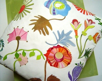 Whimsical Flowers on White 17x17 Pillow - Hand Painted Original Art Colorful Abstract English Cottage Charm Decorative Pillow