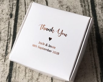 40x Personalised Gift Rose Gold Foil Boxes White Bomboniere Favour Boxes • Wedding Party Baby Shower Baptism Christening Easter Gift Boxes