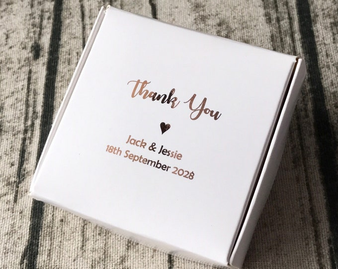 Featured listing image: 40x Personalised Gift Rose Gold Foil Boxes White Bomboniere Favour Boxes • Wedding Party Baby Shower Baptism Christening Easter Gift Boxes