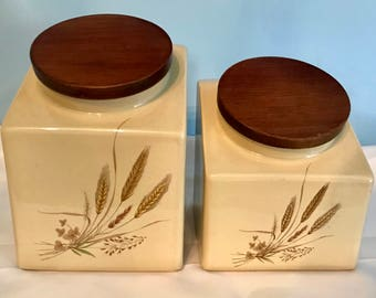 Vintage Hyalyn Wheat Canister set