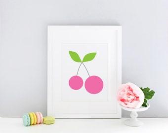 Sweet pink cherry printable art - nursery, kids room, instant download