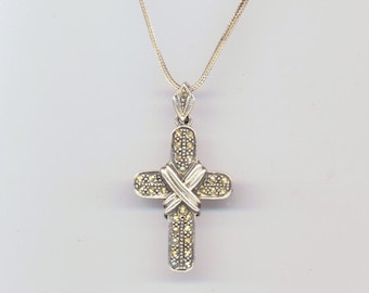 Vintage Cross . 925 Sterling Silver Cross. Marcasite Large Cross . Easter Jewels. Christmas Holidays - Holly Cross by enchantedbeads on Etsy