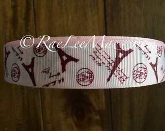 "Pink paris eiffel tower ribbon 1"" 25mm/ eiffel tower ribbon/pink eiffel tower paris hair bow ribbon/paris theme baby shower/eiffel tower"