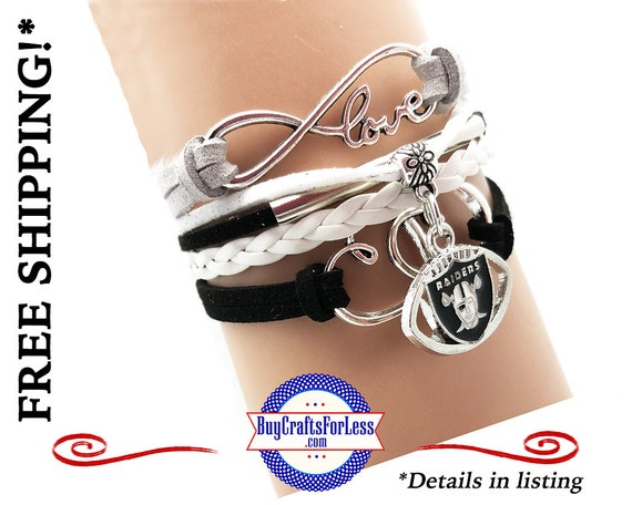 OAKLAND FooTBALL INFiNITY CHaRM BRaCELET, Leather/Suede, Choose Clasp - Super NiCE! +FREE SHiPPING & Discounts*