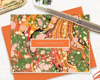 personalized stationery set - vintage marble paper KINSLEY ORANGE - set of 8 folded note cards - custom stationary - feminine cards