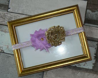 Purple flower headband and gold size 1/3 years