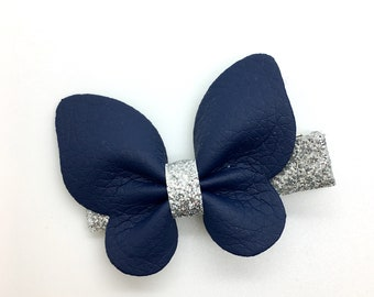 Leather Butterfly Hair Clip Navy Blue Leather Hair Clip Girls Hair Clip Spring Hair Clip