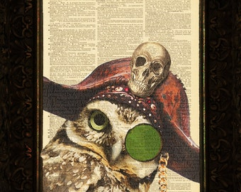 Le Owl De Pirate on Antique Dictionary Art Print, Wall Decor, Wall Art Mixed Media Collage