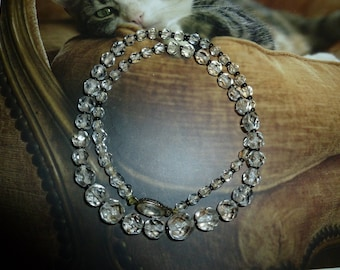 Vintage Czechoslovakian Clear Glass Faceted Bead Necklace 1930's-1940's