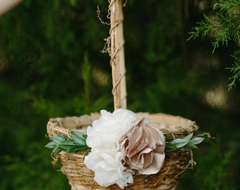 Rustic Flower Girl Basket | Ivory Floral | Round Woven Basket | Gold Floral Detail | Woven Vine Basket | Rose Gold Wedding Basket | Textured