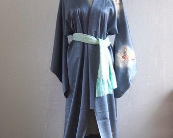 Shiny Blue silk kimono/ Japanese silk robe/ vintage kimono