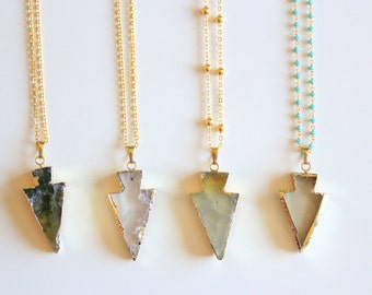 40% OFF SALE: Agate Arrowhead Necklace, Long Gold Chain