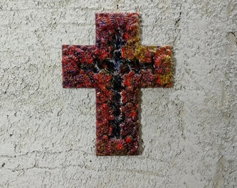 Ceramic cross, cross ornament, cross for wall, decorative cross, hanging cross, wall cross, mosaic wall cross, baptism cross, wall crucifix