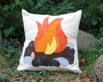 "Ready to Ship Campfire Pillow Cover, Fits 20"" Pillow Form, Great Teepee Accessory, Custom Order"