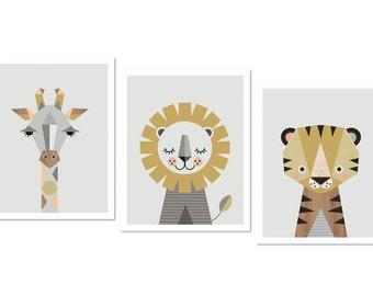Lion, Giraffe and Tiger prints, Series of three prints. Nursery art, nursery decor, animal prints, kids art, safari prints, scandinavian art
