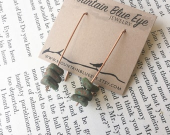 Copper and Czech Glass Stick Earrings