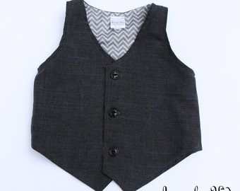 Jeffrey Charcoal Grey Boys Vest, Boys Formal Wear, Grey Vest, Ring Bearer Outfit, Page Boy Outfit, Family Photo Outfit, Baby Formal Outfit
