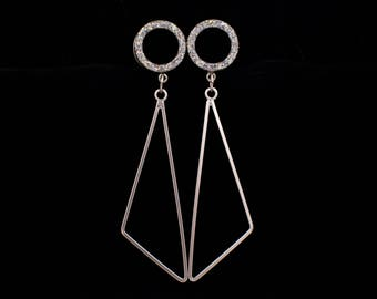 Iridescent Sparkle Geometric Triangle Tunnel Dangle Plugs / 6g, 4g, 2g, 0g, 00g, 7/16, 1/2, 9/16, 5/8, 11/16, 3/4 / Wedding Hanging Gauges