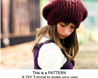 Instant Download Knitting Pattern - Knit Hat Knitting Pattern - Knit Hat Pattern Slouchy Hat Slouchy Beanie - Womens Hat Womens