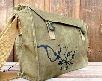 Cherry Blossom Messenger Bag - Trendy Vintage Czech Canvas Military Hand Painted Handbag / Purse