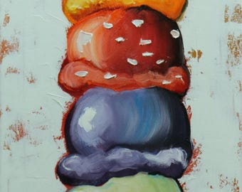 Ice Cream Cone 13 12x36inch original oil painting by Roz