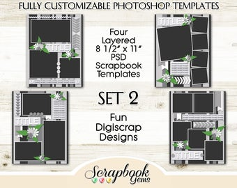 "Four 8 1/2"" x 11"" Digital Scrapbook Layered Photo Templates, PSD Format digiscrap photoshop customizable editable photo collage"