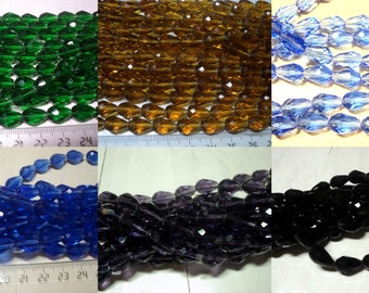 100-10 glass beads, faceted drops shape, color amethyst, chrysoprase, amber, black, light blue, 12x8 mm blue