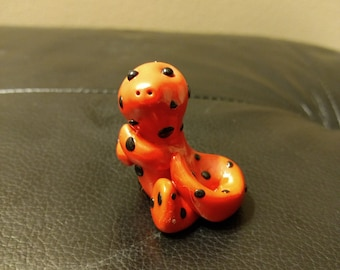 Red and black spotted dino-Polymer Clay-Cute