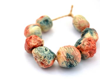 8 Red / Blue / Clear Ceramic Beads, Textured Beads, Handmade Clay Beads, Rustic Beads, Artisan Beads, Jewelry Supplies