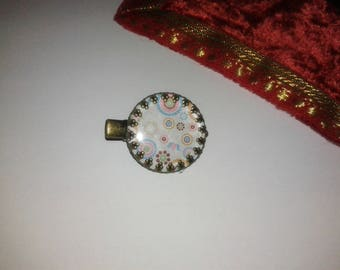 1 'circles and flowers' cabochon - fancy hair clip