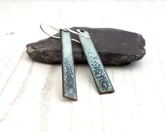 Drop Earrings - Rectangle Earrings - Bar Earrings - Long Enamel Earrings - Long Dangle Earrings - Casual Earrings -Boho Earrings