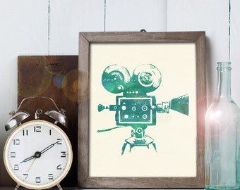 Vintage Movie Camera Art - 8x10 printable digital file - INSTANT DOWNLOAD!