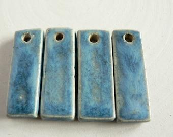 Blue Danglers, Stoneware Danglers, Ceramic Charms, Earring Danglers, Boho Art Beads