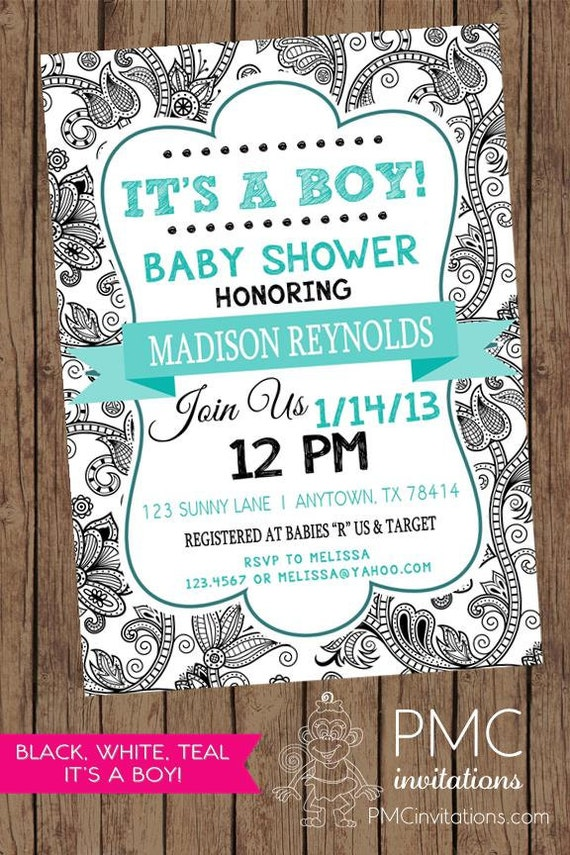 Black and White Floral It\'s a Boy Baby Shower Invitation